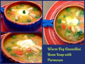 Warm Veg Cannellini Bean Soup with Parmesan cheese