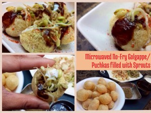 Microwave No-Fry Golgappe / Puchkas with Sprouts!