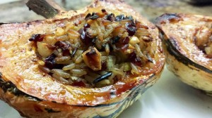 Roasted Winter Squash with Cranberry Wild Rice Stuffing